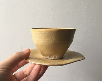 Cup and Saucer with an Ash tree glaze