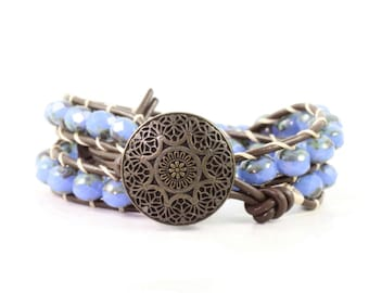 Blue Boho Wrap Bracelet Brown Leather Jewelry Boho Style Double Wrap Brass Button Cream Bohemian Jewelry Fall Fashion Cornflower Blue