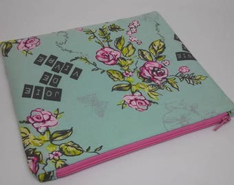 Pink teal green floral Joie de Vivre makeup bag / flat zipper pouch/ cosmetic bag