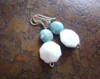 White Picasso Dangle earrings