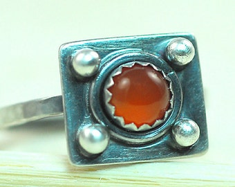 Carnelian Ring, Sterling Silver, Oxidized Ring, Size 4.5 US, Cocktail Ring, Ready To Ship, Statement Ring, Small Ring, OOAK