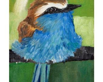 Print - Blue bird,  fine art print, wall art print, home decor,  bird print, giclee, artwork, animal art, little bird art, nature art