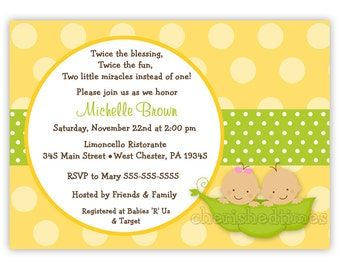 Sweet Peas Three Colors Style 3 for Twins Only Baby Shower Invitation (You Print)