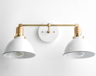 Vanity light etsy bathroom wall light industrial vanity light brass light fixture white shade vanity mozeypictures Image collections