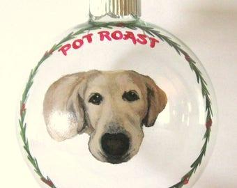 Custom Pet Portrait Painting, Yellow Labrador Retriever, Pet Loss Memorial, Personalized Pet, Christmas Ball, Dog Rememberance, Lab Lover