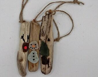driftwood and sea glass christmas decoration