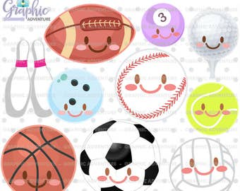 Sports Clipart, Sports Graphics, COMMERCIAL USE, Sports Clip Art, Kawaii Clipart, Sports Party, Sports Balls Clipart, Balls Clipart