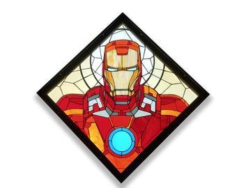 stained glass Ironman Mark VII - cacklit - iron frame