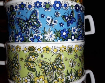 Royal Crown Harmony  Mug and Plate Set in 4 Colors Butterflies Flower Power 1970s
