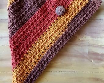 Crocheted Triangle Cowl w/ wood button pin