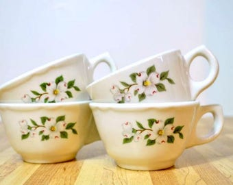 Vintage Buffalo China Ceramic Coffee Cups Dogwood Pattern: Set of 4 Diner Mugs Restaurant Ware Flat Cups