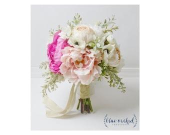 Boho Bouquet, Silk Flower Bouquet, Wedding Bouquet, Bridal Bouquet, Peony Bouquet, Boho Peony Bouquet, Wedding Flowers, Silk Wedding Flowers