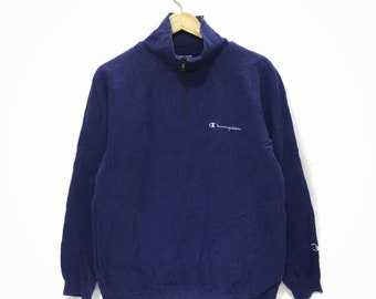Vintage CHAMPION PRODUCT Spell Out Blue Half Zip Neck Sweatshirt USA Size M