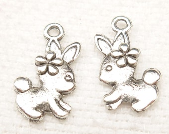 Tiny Bunny with Flower Charms, Easter Bunny, Antique Silver (6) - S127