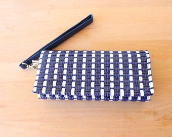 Blue & White Mexican Plastic / Leather Wallet