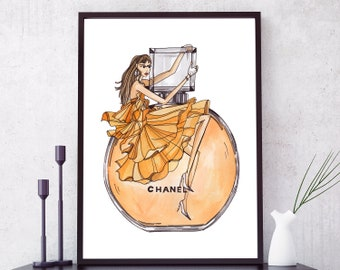 Chanel Perfume Print. Coco Chanel poster. Chanel Wall Art. Perfume Bottle Illustration. Fashion Wall Art. Fashion Prints. Fashion Poster.