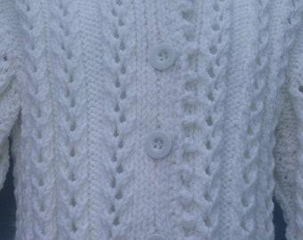 Handknit infant Lace Bolero sweater, White yarn, Size 12-18 months
