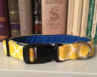 Yellow and Blue Patterned Dog Collar