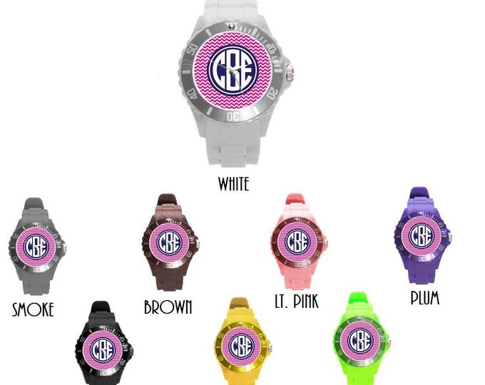 Monogrammed Rubber Sports Watch- Mix and Match Patterns and Colors