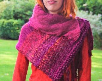Mini cape, snood, shawl wrap fringe, shoulderette shoulder warmer, ethnic bohemian gypsy hippie, bordeau crimson orange, cozy women pocho