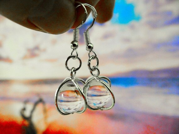 Quartz Gypsy Magic Floating Crystal Ball Sterling Silver .925 Earrings Clear Crystal Boho Hippie Wicca Pagan Full Moon Earring Cage
