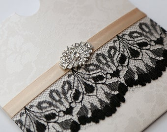Antique Gold & Black Lace and Vintage Brooch Wallet Invitation