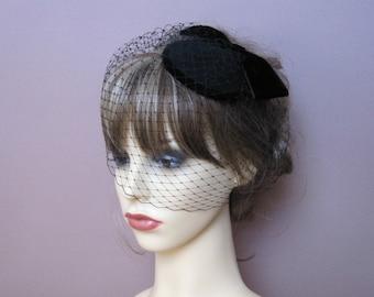 Black funeral hat felt fascinator birdcage veil 50's 60's vintage style headpiece evening cocktail formal hat