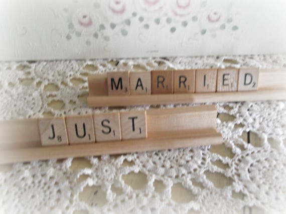Just Married Sign, Rustic Cake Topper, Scrabble Sign, Wedding Decor, Vintage Style Wedding