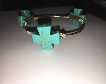 Wire Bangle Cross