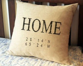 Home coordinates pillows,Custom longitude and latitude Pillows,Personalized Pillows,Coordinate Pillow Case,Housewarming Gift,Location Pillow