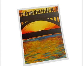 Austin Bridge And Bats Fine Art Print