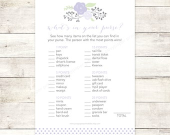 bridal shower game what's in your purse printable lavender purple polka dots flowers floral wedding shower digital games - INSTANT DOWNLOAD