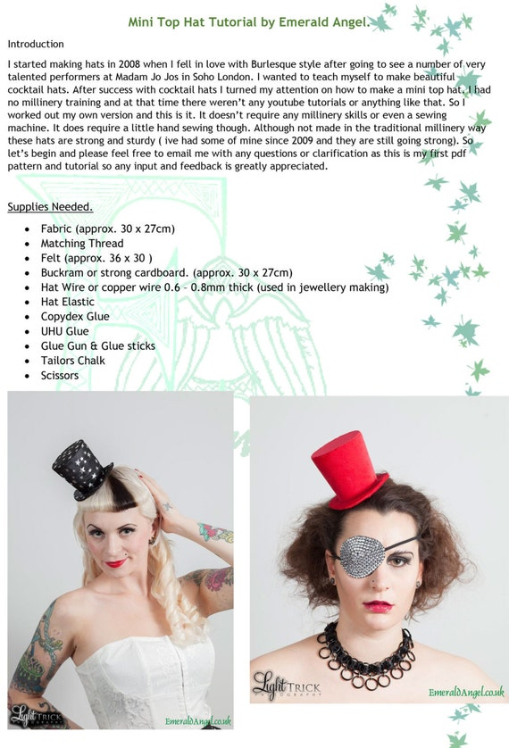Mini Top Hat Pdf Pattern, Tutorial. No sewing machine or millinery ...