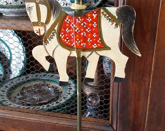 Scandinavian Dala Horse Candle Holder~Thanksgiving Table~Christmas Decor~Vtg Swedish Folk Art Hand~Hand Painted Metal Horse~JewelsandMetals.