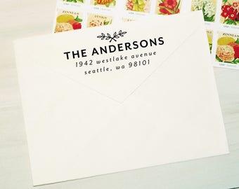 Return Address Stamp, Self-Inking Address Stamp, Custom Return Address Stamp, Wood Stamp, Family Stamp, Housewarming Gift - Style #96