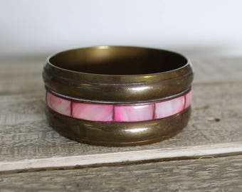 VTG Brass Bangle Bracelet with Pink Mother of Pearl Inlay