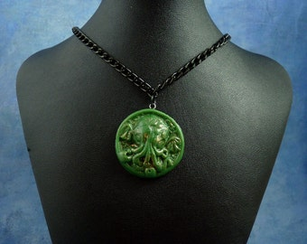 Green Small Cthulhu Cameo Necklace with Chain, Polymer Clay Lovecraft Jewelry