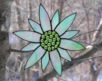 Stained Glass Flower Turquoise, Stained Glass Flower Aqua, Aqua flower, Flower Suncatcher, Turquoise Flower ,Stained Glass Sunflower