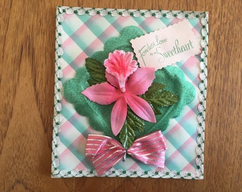 Vintage 40's,50's Printed, Padded Satin Birthday, Greetings Card - Unused 'Fondest Love to my Sweetheart', pink chenille orchid flower