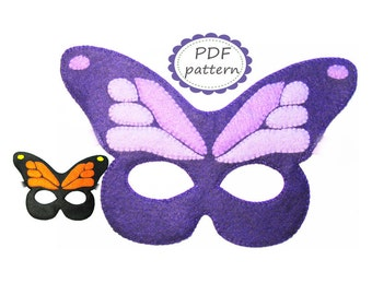 PDF PATTERN Butterfly felt mask sewing tutorial instruction DIY handmade costume accessory for girl woman Dress up play - Instant dawnload