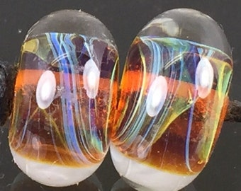 Lampwork Glass Boro Borosilicate Beads Pair / Set of 2 Handmade