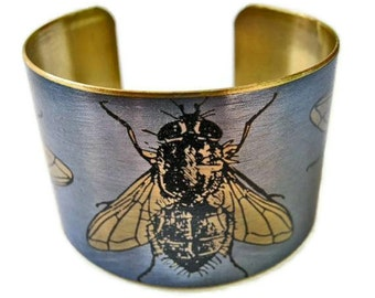 Cuff Bracelet Flies vintage insect illustration brass Free Shipping to USA Gifts for her