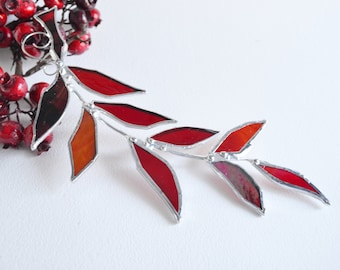 Red Glass Leaf Branch. Stained Glass Suncatcher. Red Leaf.
