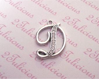LETTER D, ALPHABET, Crystal, Pendant, Charm. antique silver, jewelry
