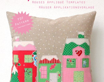PDF Applique Template - Houses