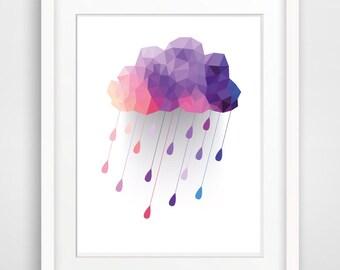 Printable Nursery Art Print Instant Download Nursery Print Kids Room Wall Art Raindrop Cloud Print Geometric Wall Art Digital Home Decor
