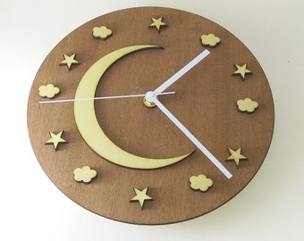 "Wooden wall clock  - ""NIGHT SKY"""