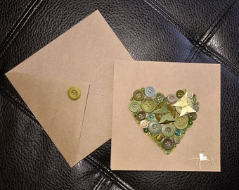 Valentine'Day Greeting Card-Green Butterflies Origami and Buttons-Greeting Card- 折り紙カード