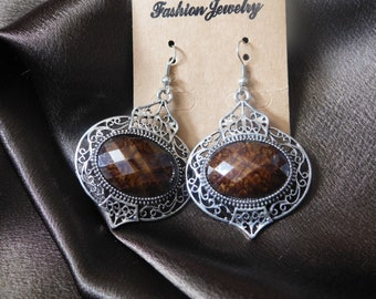 Indian art inspired silver earrings brown and turquoise