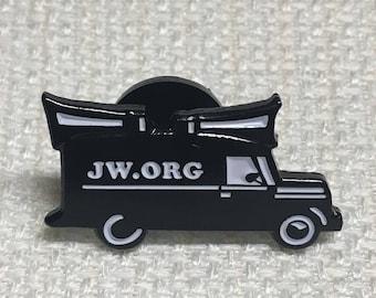 3.25 ea. > Black & White Sound Car with JW.org [LOT of 1] JW Lapel Pins